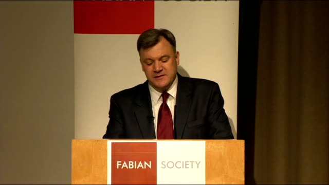 Ed Balls speech to the Fabian Society ENGLAND London Fabian Society INT Man introducing Ed Balls SOT / Ed Balls MP speech SOT Thank you Suresh and...