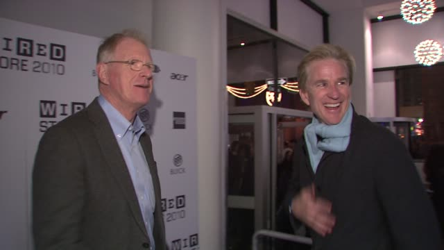 ed begley jr and matthew modine at the wired celebrates the 2010 wired store experiential gallery opening in noho at new york ny - l'uomo e la macchina video stock e b–roll