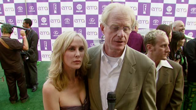 ed begley jr on being nominated for an award on what others can do for the environment and if the entertainment industry has a responsibility to... - wilshire ebell theatre stock videos & royalty-free footage