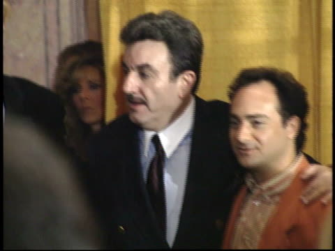 ed begley jr posing for paparazzi with unidentified man and kevin pollack on red carpet - friars roast 1993 stock videos and b-roll footage