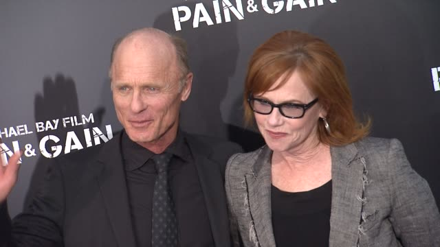 ed harris, amy madigan at pain & gain los angeles premiere 4/22/2013 in hollywood, ca. - amy madigan stock videos & royalty-free footage