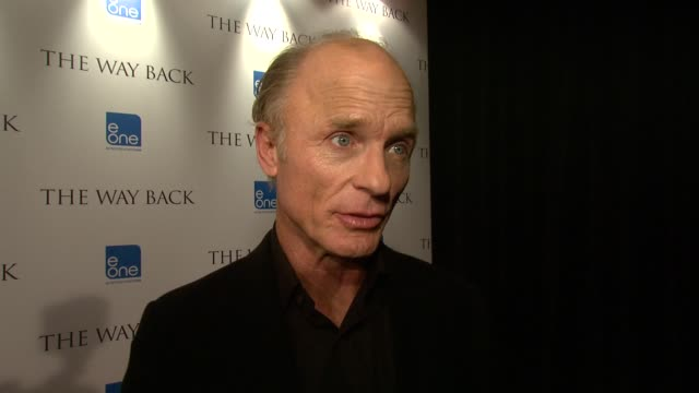Ed Harris on filming the locations what the cast went through at the The Way Back Premiere at London England
