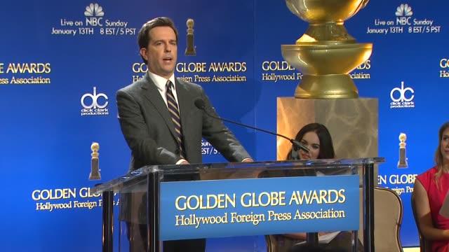 ed helms announces the 70th annual golden globe awards nominees at the 70th annual golden globe awards nominations announcement, 12/11/12 beverly... - beverly hills点の映像素材/bロール