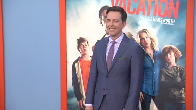 ed helms at the vacation los angeles premiere at regency village theatre on july 27 2015 in westwood california - regency village theater stock videos and b-roll footage