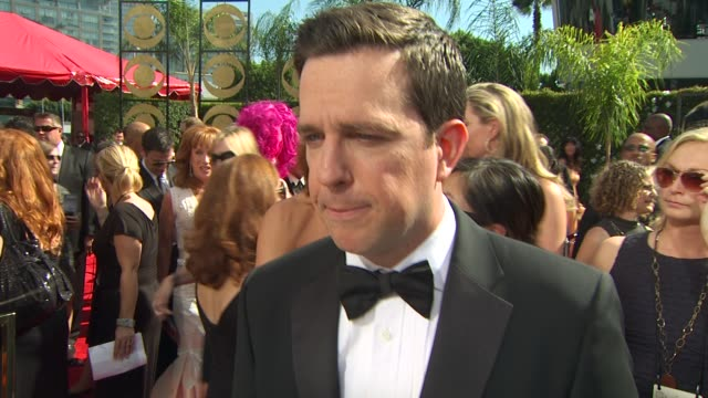 ed helms on his show's nomination at the 61st annual primetime emmy awards arrivals at los angeles ca - annual primetime emmy awards stock-videos und b-roll-filmmaterial