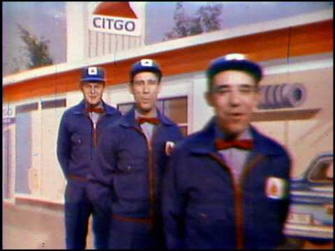 / ed mcmahon introduces the brand new look for citgo / the four lads, dressed as service station attendants, sing the new citgo jingle in front of a... - narrating stock-videos und b-roll-filmmaterial