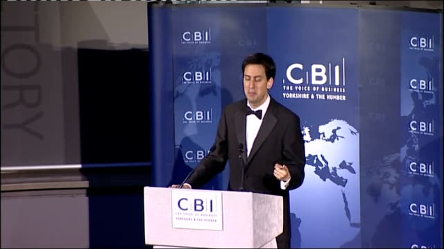 ed miliband addresses cbi in leeds; - have a moment of real challenge and you are the people in the front line and having to make difficult decisions... - social justice concept 個影片檔及 b 捲影像