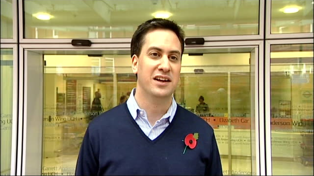 ed miliband announcing birth of baby boy; england: london: ucl: ext ed miliband mp from hospital to speak to press sot - i have had a lovely baby... - big hair stock videos & royalty-free footage
