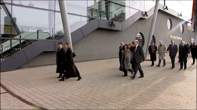 ed miliband arrives at the sage gateshead england tyne and wear gateshead labour shadow cabinet arriving at the sage centre more of shadow cabinet... - gateshead stock videos and b-roll footage