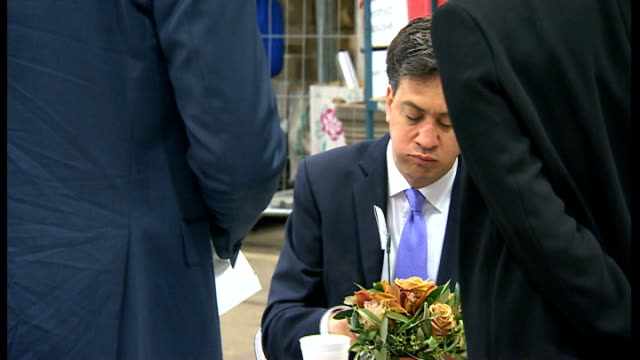 ed miliband comments on his image problems at summer campaign launch lib / 2152014 new covent garden photography** miliband eating bacon sandwich - ed miliband stock-videos und b-roll-filmmaterial