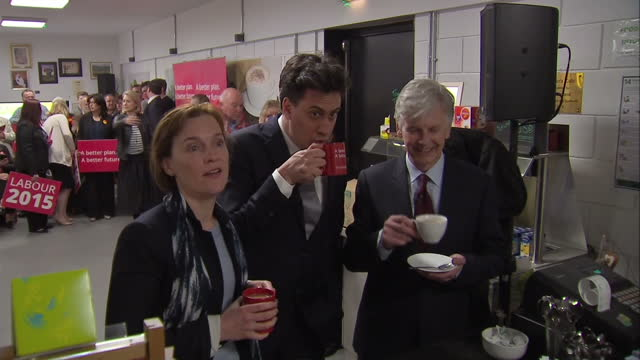 ed miliband continues labour election campaign in bedworth shows interior shots ed miliband justine thornton mike o'brien mp for north warwickshire... - ed miliband stock-videos und b-roll-filmmaterial