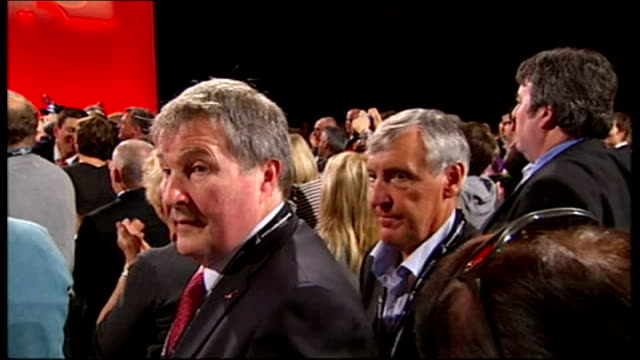 ed miliband elected new leader of labour party ed miliband on giant television screen ed miliband stepping down from stage then embracing harriet... - alan johnson stock videos & royalty-free footage