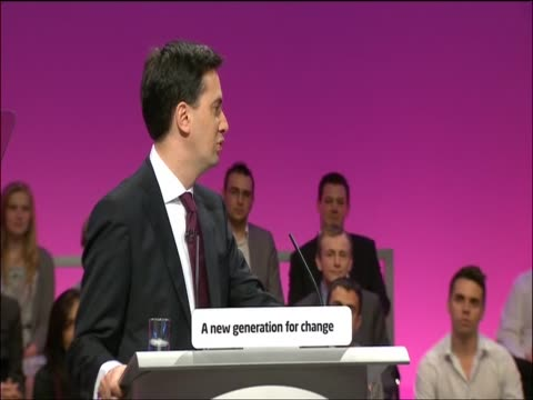 ed miliband gives his first major speech as leader of the labour party at annual labour party conference praising brother david - brother stock videos & royalty-free footage