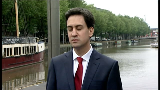 avon bristol ext ed miliband mp interview sot on jimmy savile allegations / on andrew mitchell row still don't know what he said to our brave police... - 市民点の映像素材/bロール