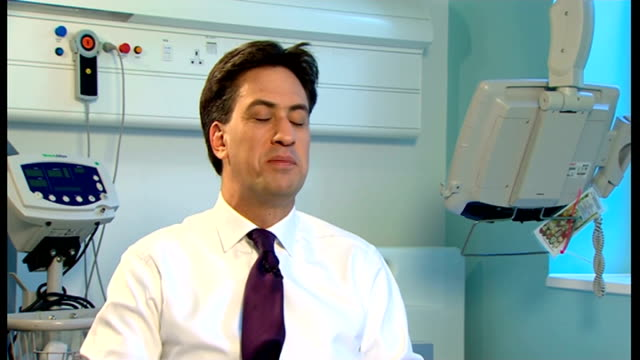 ed miliband interview; england: greater manchester: salford royal hospital: int ed miliband mp interview sot - think it will be mainly about who does... - 50 seconds or greater stock-videos und b-roll-filmmaterial