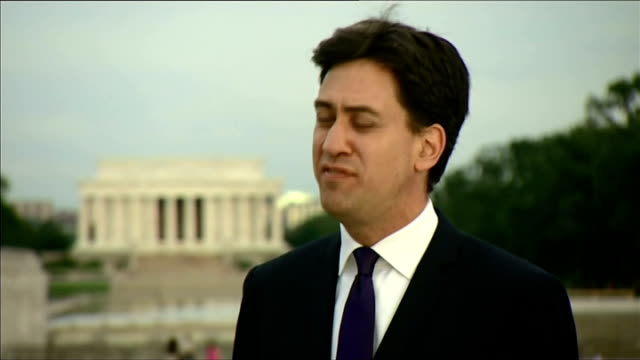 washington dc ext ed miliband mp interview sot miliband and douglas alexander mp along - douglas alexander stock videos & royalty-free footage