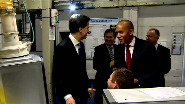 Ed Miliband interview on Liam Fox affair / GVs factory ENGLAND Worcestershire Worcester EXT Ed Miliband MP out of car then along next Chuka Umunna MP...
