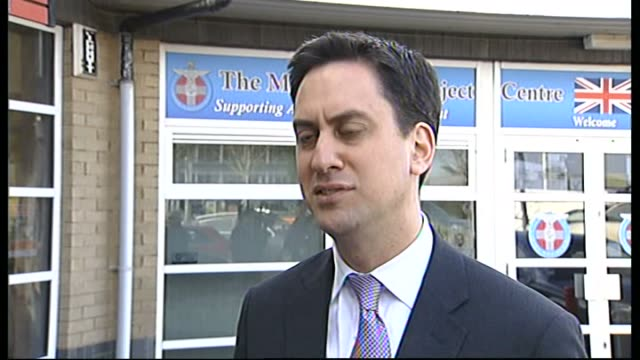 ed miliband is visits the mark wright project in dalkeith scotland midlothian dalkeith ext ed miliband mp interview sot cloud of allegations... - alan johnson stock videos & royalty-free footage
