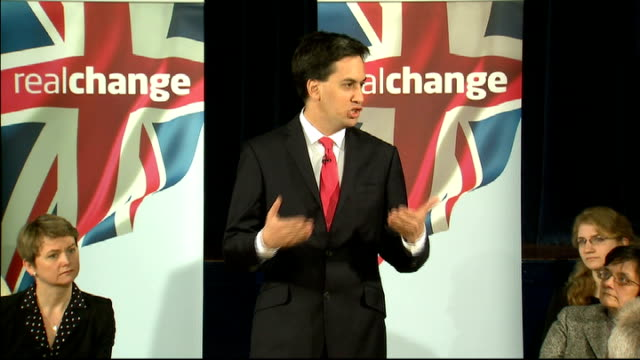 Ed Miliband launches Labour's candidates for police and crime commissioners INT General views of Miliband into meeting / Ed Miliband MP speech SOT...