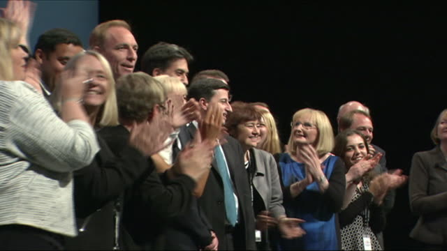 ed miliband on stage at the annual labour party conference with scottish labour party politicians - alistair darling stock videos & royalty-free footage