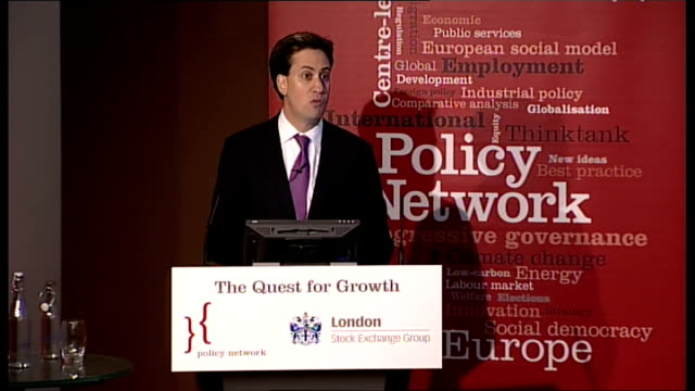 Ed Miliband Policy Network Confernce speech ENGLAND London London Stock Exchange INT Ed Miliband MP speech to Policy Network Confernce 'The Quest for...