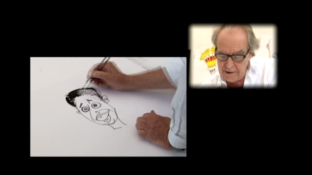 ed miliband profile; england: london: int split screen cartoonist gerald scarfe drawing cartoon of ed miliband gerald scarfe drawing and signing... - gerald scarfe stock videos & royalty-free footage