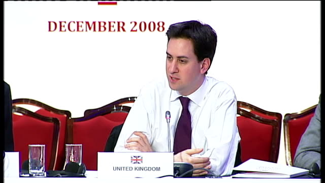 ed miliband speaking at oil summit miliband answering question sot on lowering taxes on fuel still have to find money elsewhere - lowering stock videos & royalty-free footage