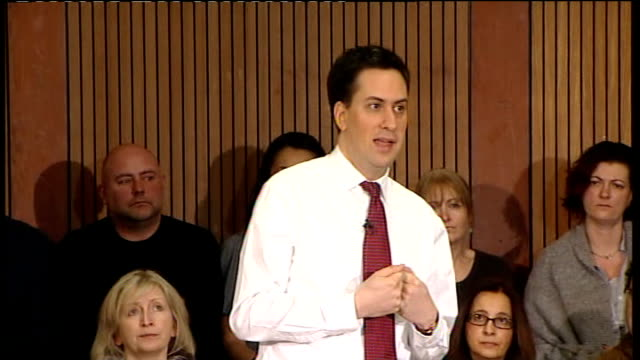 ed miliband speech and q and a session ed miliband question and answer qa session sot time for humility / we have not been the leaders in renewable... - humility stock videos and b-roll footage