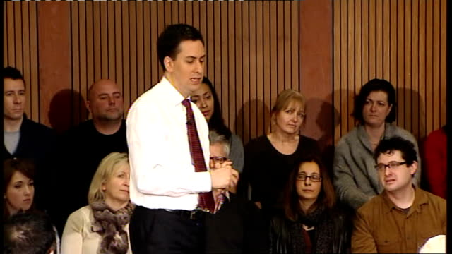 ed miliband speech and q and a session ed miliband question and answer qa session sot sorry to hear you were put off going on protest / peaceful... - schulleiter stock-videos und b-roll-filmmaterial