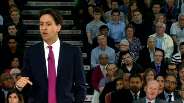london redbridge int ed miliband mp into room to applause ed miliband mp speech sot transcript** friends i am proud to be launching our local and... - new age stock videos & royalty-free footage