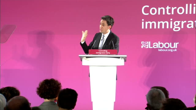 stockvideo's en b-roll-footage met ed miliband speech miliband qa sot on need for more doctors on education and schools on probation service cutting business rates - probatie