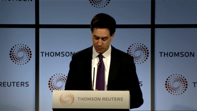 Ed Miliband speech on the future of banking ENGLAND London Canary Wharf Thomson Reuters INT Unidentified man introduces Ed Miliband SOT Ed Miliband...