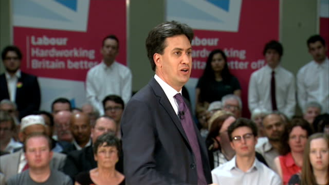 ed miliband speech on the minimum wage labour is on the side of hard working people / hard work should be rewarded by fair pay / minimum changed... - 低い点の映像素材/bロール
