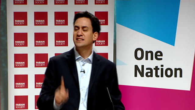 ed miliband speech to fabian society conference; miliband speech sot - new labour rightly broke from old labour and celebrated the power of private... - politics and government stock videos & royalty-free footage
