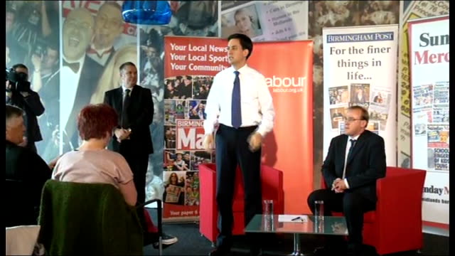 Ed Miliband takes part in QA session with readers of the Birmingham Mail ENGLAND West Midlands Birmingham PHOTOGRAPHY** Ed Miliband MP arriving and...
