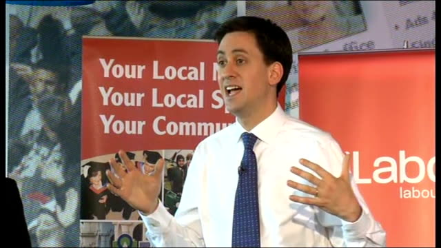 ed miliband takes part in qa session with readers of the birmingham mail miliband answering questions sot on cost of finance / stakes in state owned... - banking sign stock videos & royalty-free footage