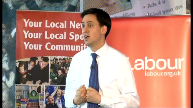 ed miliband takes part in q&a session with readers of the birmingham mail; miliband answering questions sot - on deficit and debt - global financial... - john hutton stock videos & royalty-free footage