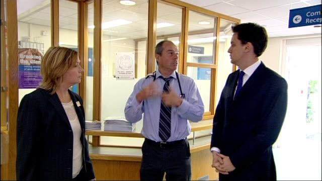 Ed Miliband visit to General Practioner in South London ENGLAND London EXT Brocklebank Health Centre Sign / Ed Miliband MP arrives at Brocklebank...