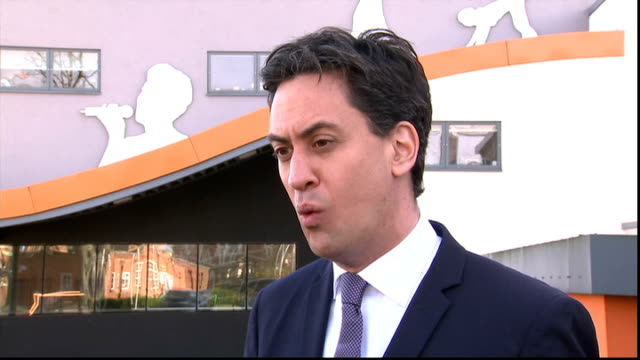 ed miliband visits brit school interview on lobbying ext ed miliband mp interview sot - ed miliband stock-videos und b-roll-filmmaterial