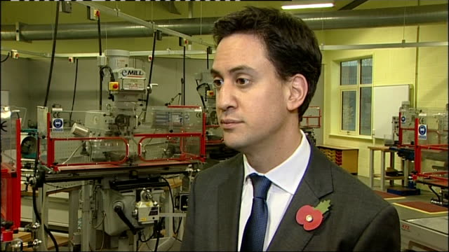 ed miliband visits rugby; england: warwickshire: rugby: int ed miliband mp interview sot - on tax rate / cutting the 50 p tax rate is not the... - 50 seconds or greater stock-videos und b-roll-filmmaterial
