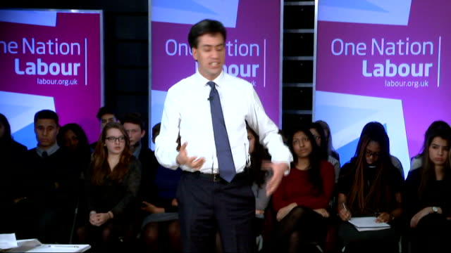 ed miliband visits school in finchley miliband answers sot getting people involved in politics schools can do something / teach young people about... - general certificate of secondary education stock videos & royalty-free footage