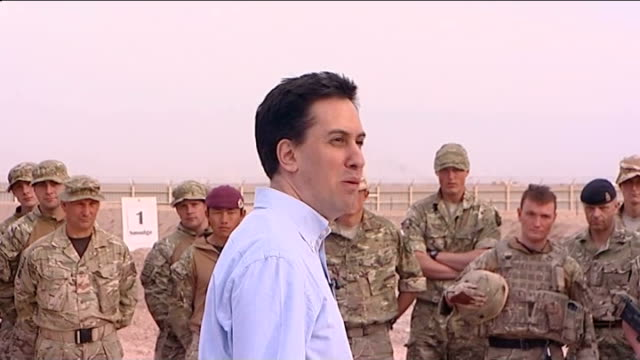 ed miliband visits troops in helmand province; afghanistan: helmand province: ext ed miliband mp addressing british troops at base camp sot - mission... - base camp stock videos & royalty-free footage