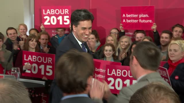 ed miliband & wife justine thornton in pudsey on last day of election campaign. shows interior shots ed miliband finishing off speech to applause... - last day stock videos & royalty-free footage
