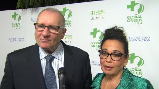 vídeos de stock, filmes e b-roll de interview ed o'neill catherine rusof on the event at global green usa 13th annual preoscar® party in los angeles ca - global green usa