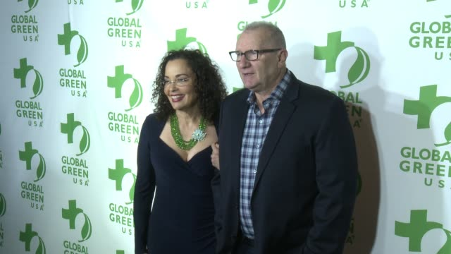 ed o'neill catherine rusoff at 14th annual global green preoscar® party in los angeles ca - catherine rusoff stock videos & royalty-free footage