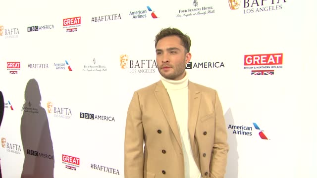 ed westwick at the bafta los angeles awards season tea party at four seasons hotel los angeles at beverly hills on january 09 2016 in los angeles... - tea party stock videos and b-roll footage