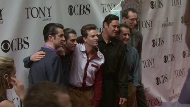 Eddie Clendening Rob Lyons Levi Kreis and Lance Guest of the musical Million Dollar Quartet at the 63rd Annual Tony Awards Red Carpet at New York NY