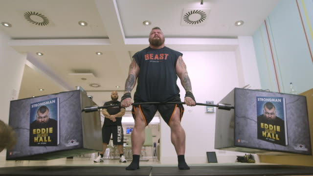 clean eddie hall attempts recordbreaking dead lift of books at random house on october 18 2017 in london england - strongman stock videos & royalty-free footage