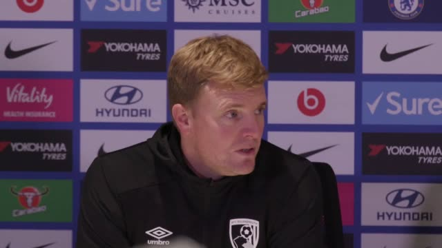 """eddie howe """"delighted"""" var decision went in favour of bournemouth after his side defeat chelsea 1-0 in the premier league. eddie gosling's winning... - var stock videos & royalty-free footage"""