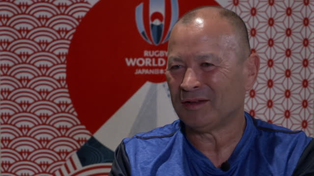 eddie jones saying he is pleased with how england have come back from the 2015 rugby world cup failure and wants his side to attack new zealand in... - side view stock videos & royalty-free footage
